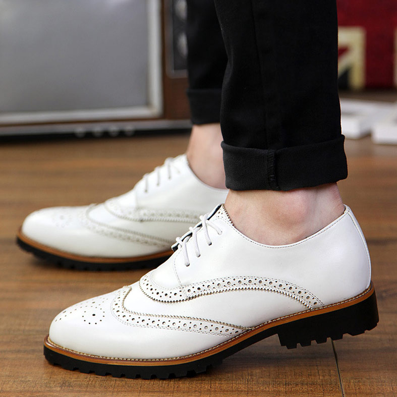 2016 Fashion Lace-Up Men's Low Shoes Pu Leather Flats Pointed Toe Business Oxfords Retro Manmade Size 37-43