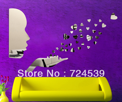 Free shippping!Sofa background wall mirror stickers wall covering love heart mirror wall stickers(China (Mainland))