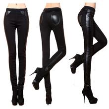 New 2016 Women Pants Plus Size Patchwork Leather Pencil Pant Black Trousers for Women's Leggings Warm Winter High Waist Pants(China (Mainland))