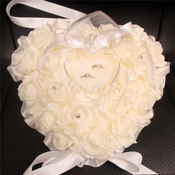 White Wedding Favors Ring Pillow With Transparent Ring Box Very Special Heart Design Decorations Supplies wedding souvenirs(China (Mainland))