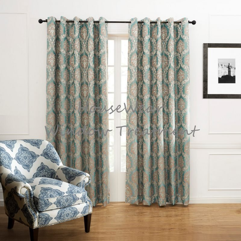 Country Fancy Floral Embroidery JacquardBlackout Grommet Top Curtain Draps With Multi Size Custom(China (Mainland))