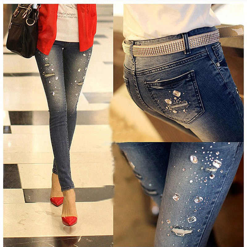 2014 new autunmn winter Rhinestone Beading Jeans woman ripped hole jeans pants women denim pencil pants female trousers G0504