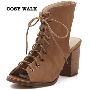 Мода летом женские туфли на высоком каблуке сандалии крест ремнями замши рим гладиатор ...