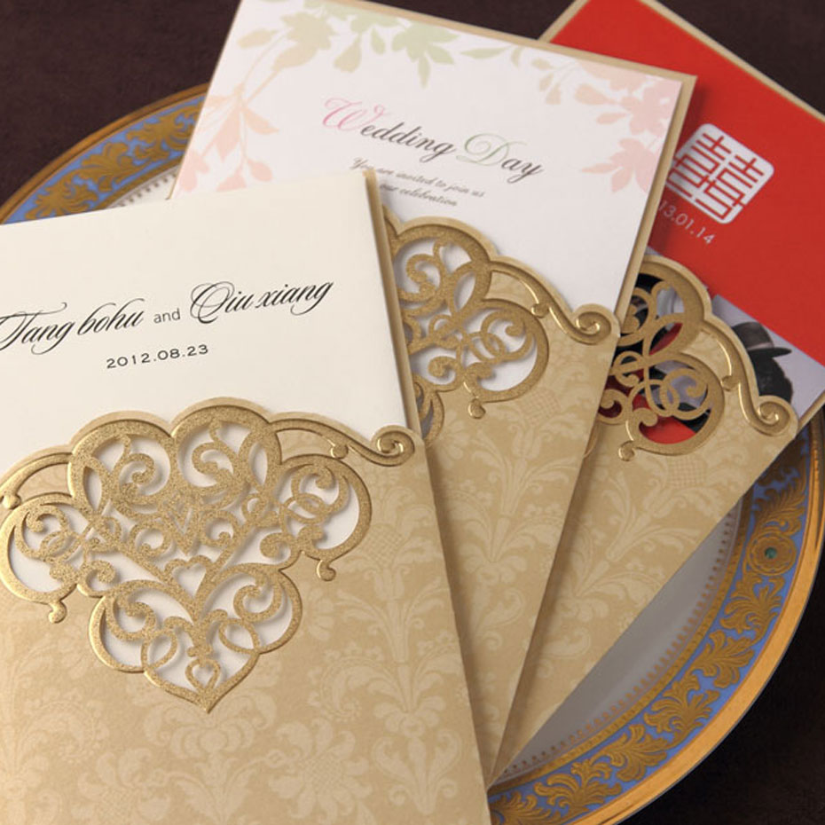 Gold Cover Wedding invitation Cards CW2002 Printable & Customize Free Wedding Suppliers Invitations cards Free printing(China (Mainland))