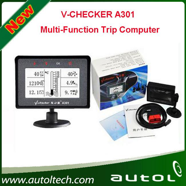 Free Shipping V-Checker A301 Car Trip Computer Diagnostic Tool OBD2 EOBD Code Reader Auto Scanner(China (Mainland))