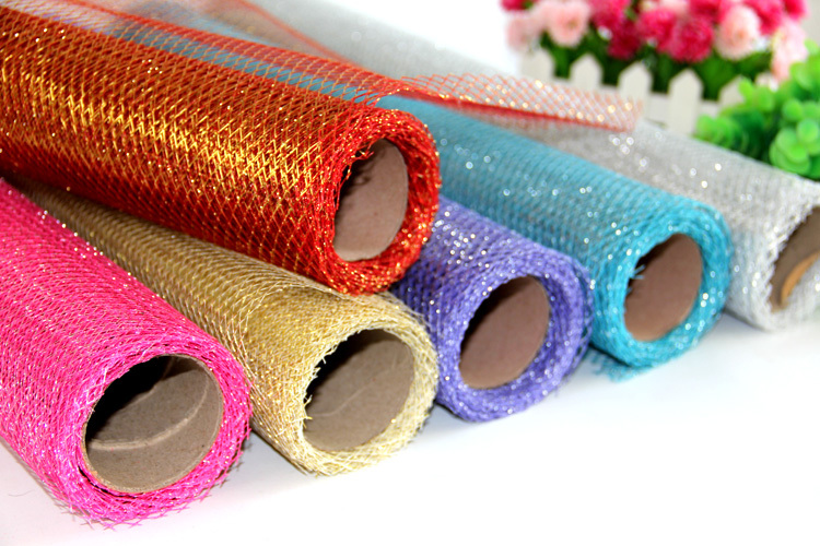 Free Shipping Glitter Floral Wrapping Mesh Roll 50cm x 5yards For Wedding Decoration Flower Bouquet Packaging(China (Mainland))