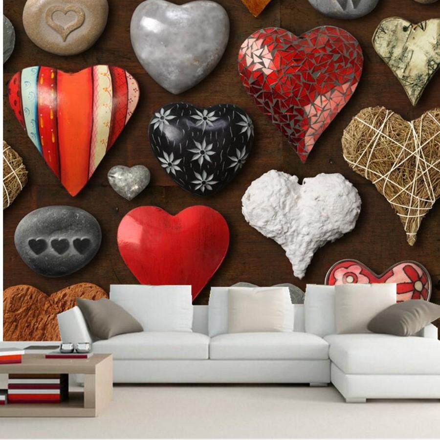 Custom mural wallpaper 3d various heart shaped stones for Custom photo mural wallpaper