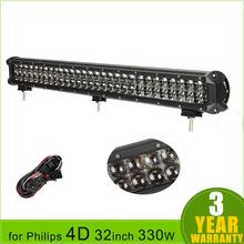32 inch 330W for Philips 4D LED Light Bar Spot Flood Combo Beam Work Lights 4×4 Offroad Trailer Truck ATV Car LED Driving Light