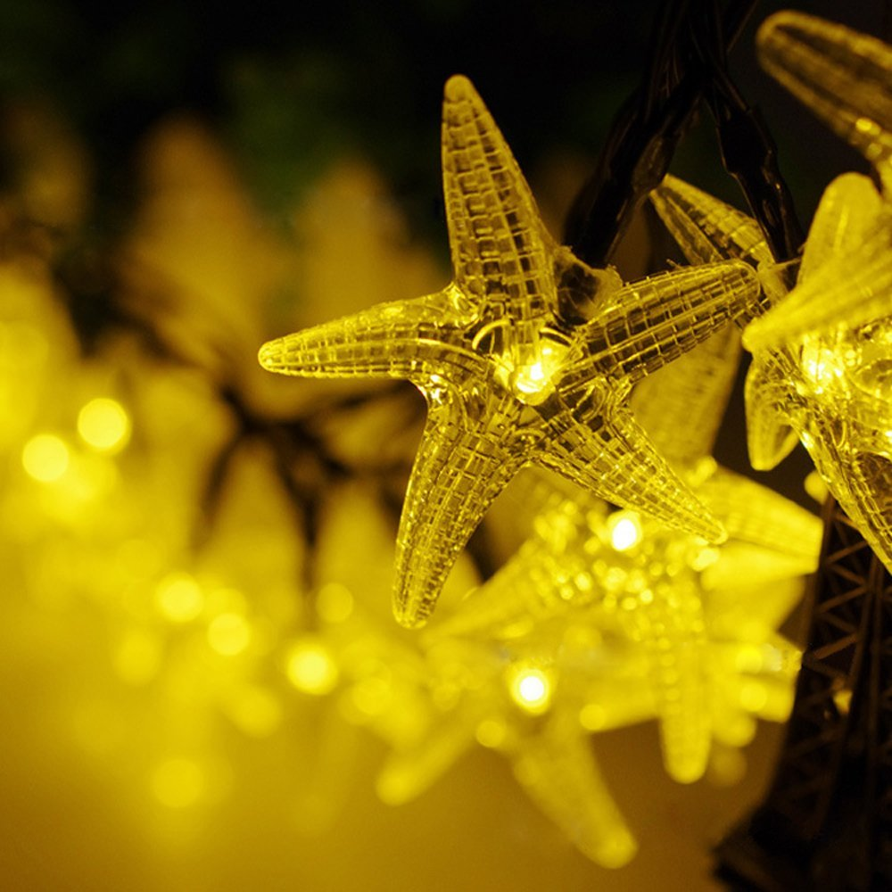 Solar fairy string lights 5m 20 led starfish decorative gardens lawn