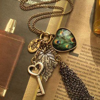 Sunshine store jewelry wholesale peacock /  heart / key tassel necklace    (min  $10 free shipping order)X102