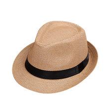 Enfants Sunhat enfants été plage chapeau de paille Jazz Panama Trilby Fedora chapeaux casquette britannique respirant bébé chapeaux filles garçons pare-soleil(China)