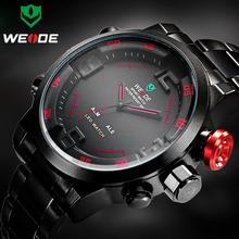 Buy Top Luxury Brand WEIDE Men Army Military Sports Watches Men's Quartz LED Display Clock Full Steel Wrist Watch Relogio Masculino for $20.84 in AliExpress store