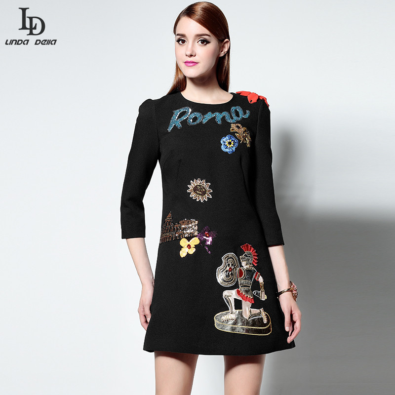 New Fashion Vintage Mini Dress Retro Designer Runway Women 3/4 Sleeve Appliques Noble Gold Sequin Beading Character Black DressОдежда и ак�е��уары<br><br><br>Aliexpress