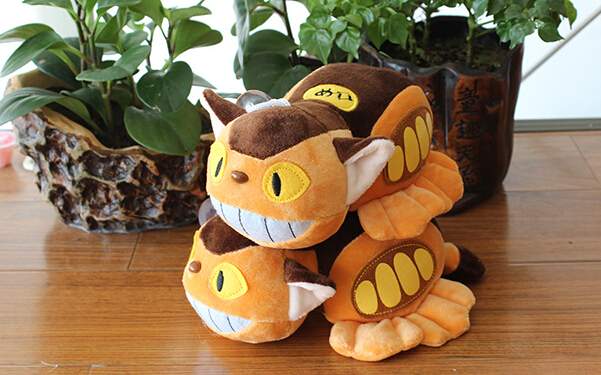 1Pcs 20cm Cute Official My Neighbor Totoro Yellow Lying Bus Car Cat Plush Home Ornament Toy Doll(China (Mainland))
