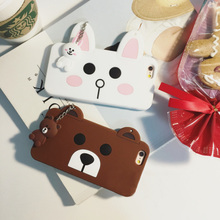 Luxury lovely 3d cute cartoon bear & rabbit mobile phone soft silicone case back cover for iPhone 5 5s 6 6s plus 6plus