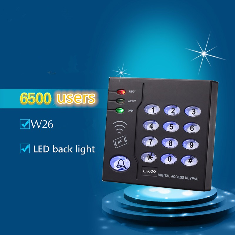 Free shipping 125Khz standalone RFID access keypad LED black light by card and keypad control system(China (Mainland))