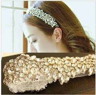 Wide white rhinestone bridal headband princess ribbon wedding accessories hair strap crystal tiara for women hair ties headress