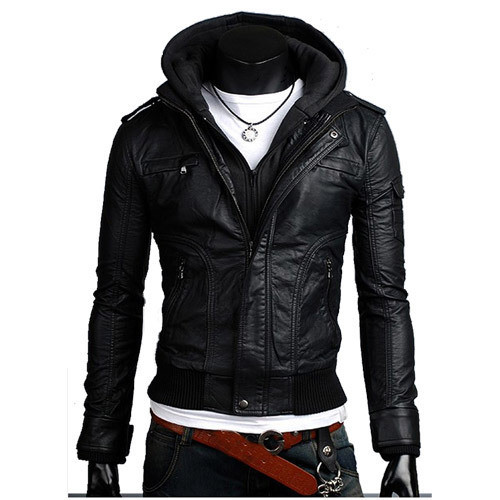 Wantdo Men's Fashion Faux Jackets Pu Leather Jackets With Removable Hood With Gift Compare Prices on Faux Leather