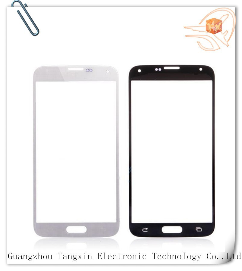 Mobile phone s5 glass for Samsung s5 i9600 front glass with free shipping with logo