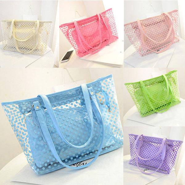 Chic Girl Work Tote Jelly Beach Handbag All Purpose Women Transparent Shoulder Bag(China (Mainland))