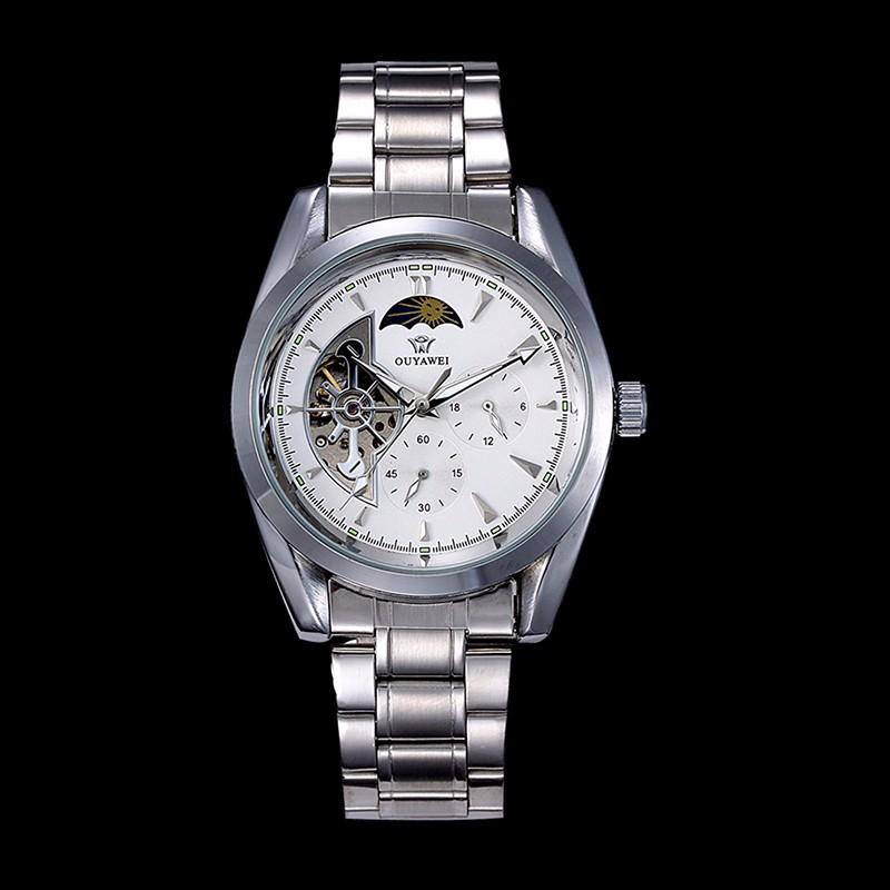 OUYAWEI часы делового стиля автоматические военно-механический мужчины смотреть полный нержавеющей стали montre homme люкс 2016 с коробкой вахты