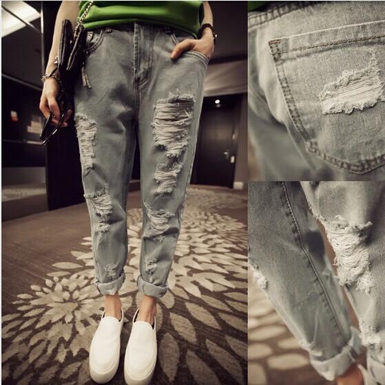 2014 fashion street style water wash finishing all-match retro hole denim harem pants - Online Store 416591 store