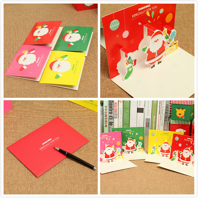1 x 3D Christmas Card Cartoon Santa Claus Greeting Card Gift Decoration Winter Fashion 14.5cm x 10.5cm(China (Mainland))