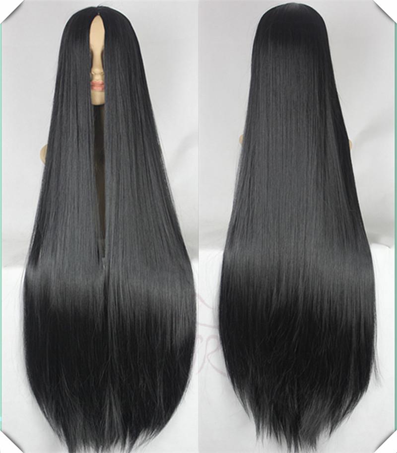 100CM Long Straight натуральный черный цвет синтетический Hair Аниме парик парик Peruca High Quality Cabelo Lolita парик Peluca