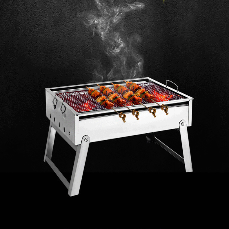 220801/Thickening stainless steel BBQ grill outdoor portable bbq charcoal household folding barbecue box spitrack(China (Mainland))