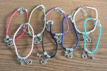 Bohemia Braided Rope Leather Bracelets Dog Paw Prints Bracelets Lucky Charm Amulet Jewelry Making Wristband For Women 10pcs B329(China (Mainland))