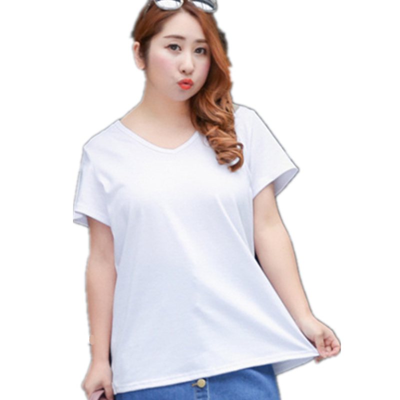 8 Colors 2017 New Girls Spring Summer T-shirt Plus Big Size Big V-Neck Back Crossing Woman Cotton T shirt Sexy Slim t-shirt 4XL