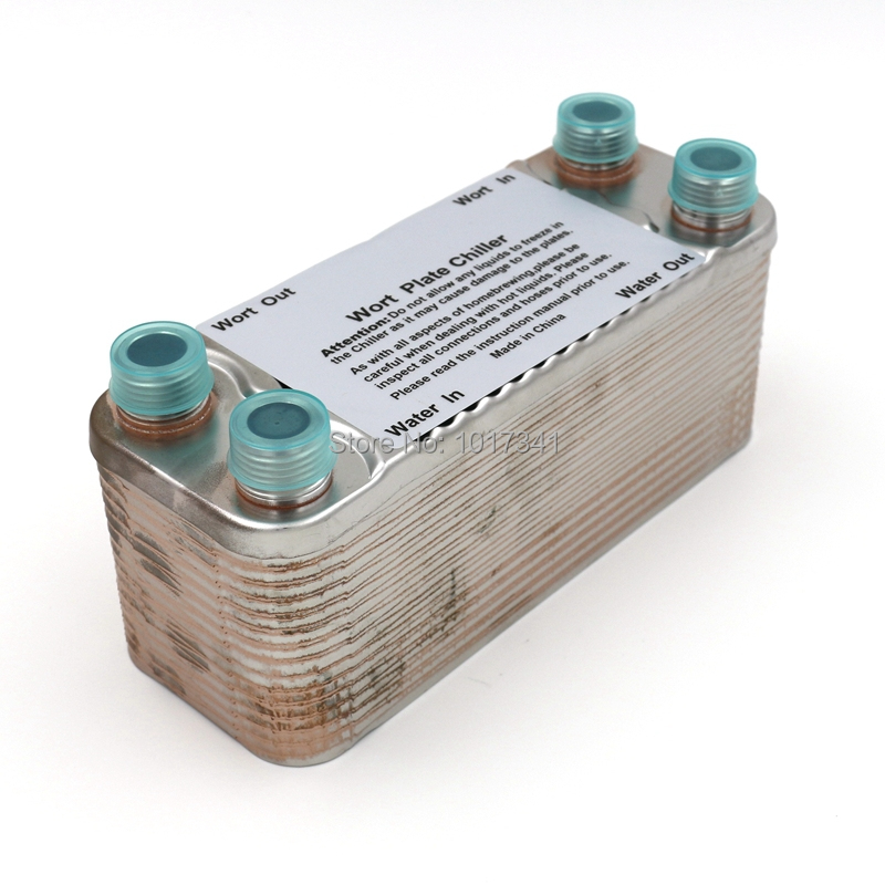 """30 Plate Wort Chiller, Stainless Steel 304, Brewing Chiller, 1/2"""" Male NPT, Heat Exchanger(China (Mainland))"""