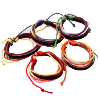 Fashion jewelry trendy colorful Leather bracelet Adjustable pull string multi- row PKB01370 mixed color 12PCS/LOT(China (Mainland))
