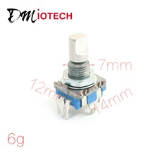 Shaft 6mm Hole 7mm 5Pin D Shaft 20 Detents Points 360 Degree Rotary Encoder w Push Button Potentiometer(China (Mainland))