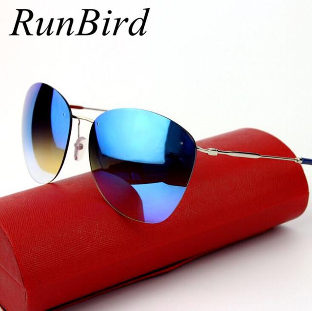 2016 мода синим налетом Rimless солнцезащитные очки мужчины марки , предназначенные ...