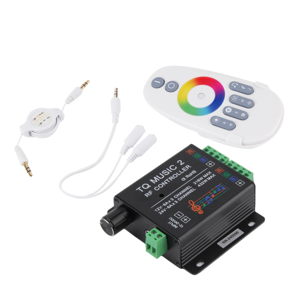 Sound Audio LED RGB RF Music Controller Touch Remote 2 Channel 12/24V 18A Brand New(China (Mainland))