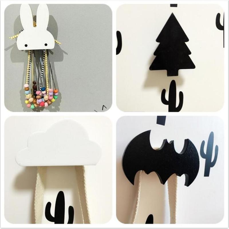 Baby Child Kids Room Wooden Wall Hooks Decorative Door Holder Hanger Organizer For Kitchen Key Clothes Store Flamingo Bat Cactus(China (Mainland))