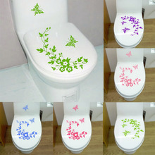 Butterfly Flower bathroom closestool stickers home deocr home decoration decals for toilet decal sticker decor(China (Mainland))