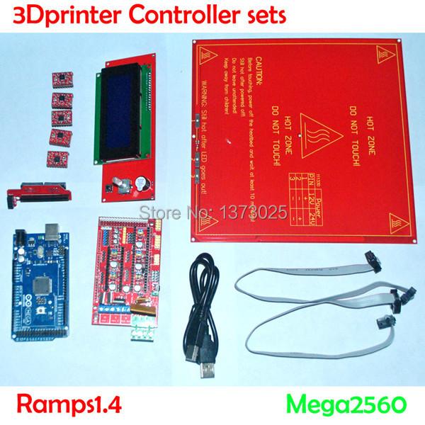 Free shipping! 3D printer Reprap Ramps 1.4 Kit + Mega 2560 + Heatbed mk2b + 2004 LCD Controller + A4988 Driver + Cables(China (Mainland))