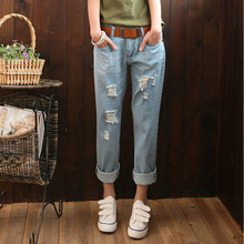 Jeans women 2016 women fashion style leisure jeans ripped jeans Women Jeans Loose Holes