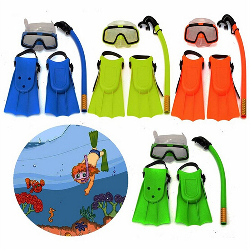 Children Snorkel Mask Swimming Diving Masks Snorkeling Set Goggles Flippers Scuba Surface Silicone Maske Masque Tuba Plongee(China (Mainland))