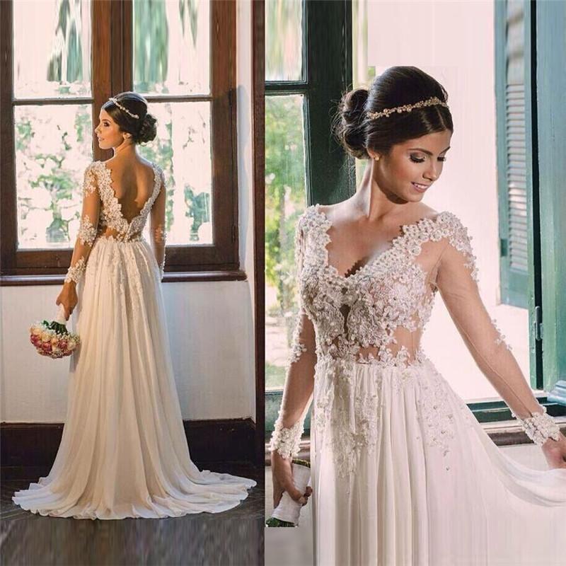 Vintage Beach Wedding Dress Lace Sexy Long Sleeve Dresses