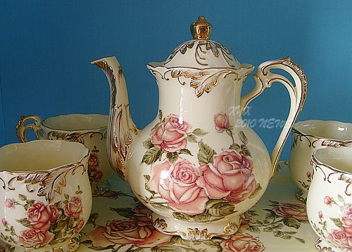 Fashion classical rustic ceramic colored drawing coffee tea set