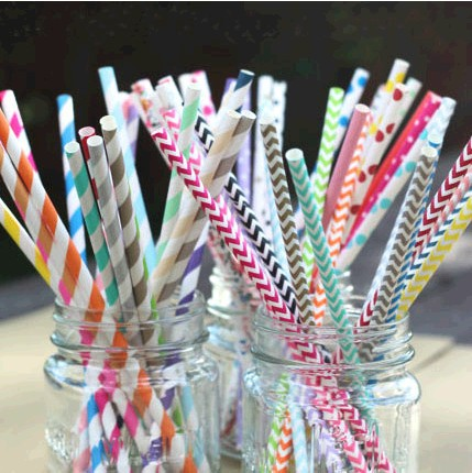 Free Shipping 300pcs/Lot Valentine'S Day Or Birthday Party Decorations Kids Striped Chevron And Polka Dot Drinking Paper Straws(China (Mainland))