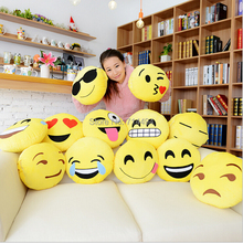 12 Styles Soft Emoji Smiley Emoticon Yellow Round Cushion Pillow Stuffed Plush Toy Doll Christmas Present Free Shipping(China (Mainland))