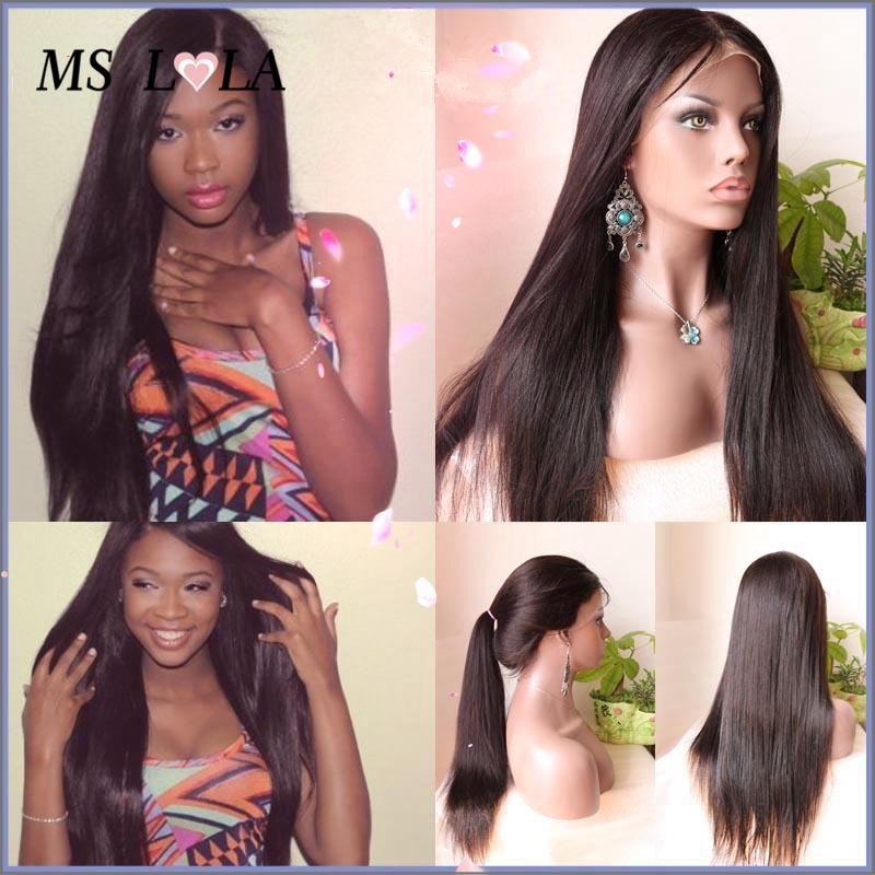 Natural hairline Long Straight Full Lace Wigs High Ponytail,100% Brazilian Silky Straight human hair lace Wigs can be braided(China (Mainland))