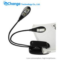 Book Light Flexible Clip LED Bulb With Battery On 4 LED Book Light Reading Light EB3106(China (Mainland))