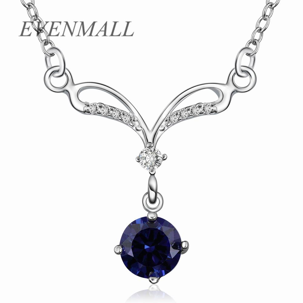 N528 Wholesale New Fashion Accessories 925 Jewelry Silver Plated Popular CZ Diamond Pendant Necklace for Women Girl Gift(China (Mainland))