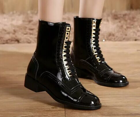 2015 winter luxury brand Martin Boots black lace up ankle boots for women cc boots genuine leather high top quilted boots flat