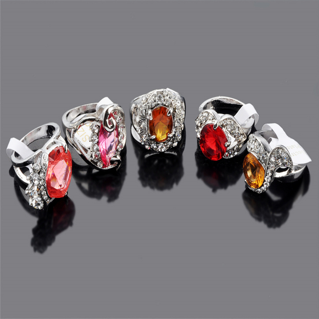 New Fashion 10 Pcs Women Mix Lot Silver Plated Rhinestone Rings Ladies Engagement Party Alloy Ring Jewelry Accessories Wholesale